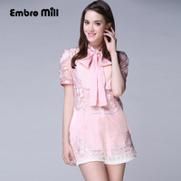 High Quality Pink White Black Women Embroidry Blouse 2015 Summer Runway Medium Style Shirt Hollow Out