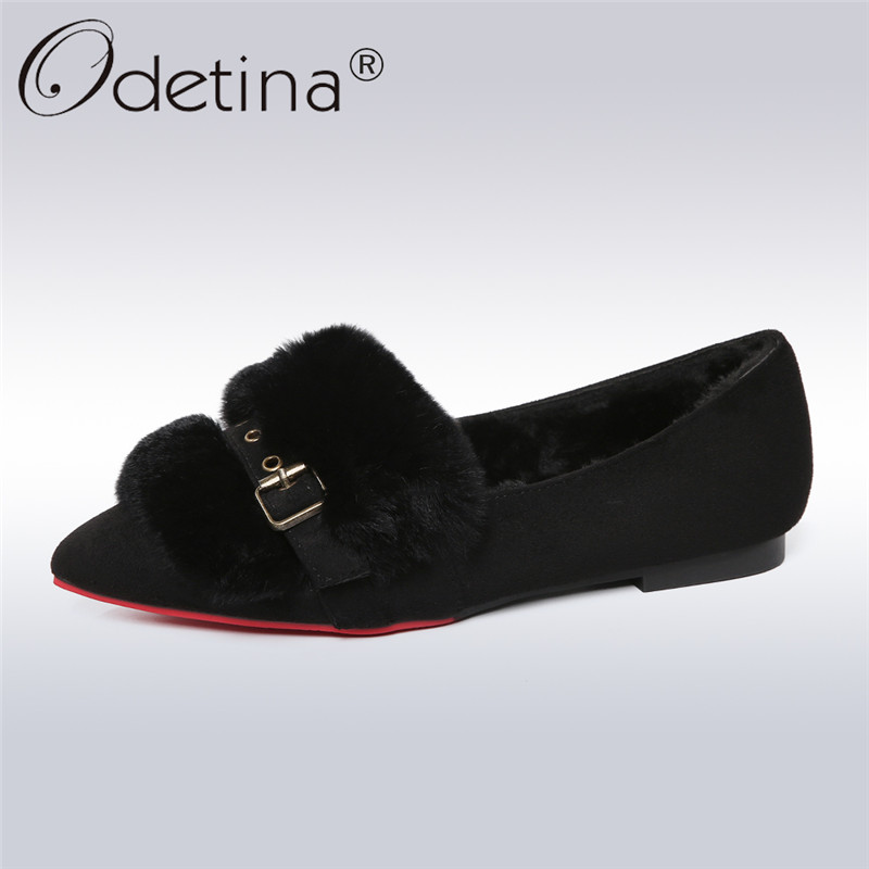 Odetina 2018 New Fashion Spring Pointed Toe Flats For Women Casual Buckle Strap Shoes Ladies Rabbit Fur Slip On Flat Lazy Shoes meotina women flat shoes ankle strap flats pointed toe ballet shoes two piece ladies flats beading causal shoes beige size 34 43