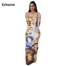 купить Women Character Print Maxi Dress Slim Bodycon Sexy Party Dress Skinny Elegant Femme Robe Vintage Vestidos Club Outfit Streetwear дешево