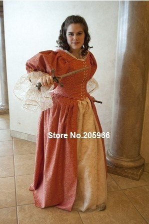 17th Century 3 Musketeer Era Cavalier Dress Gown 1700s ball gown  /Vintage Dress/Holiday Dress