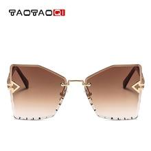 купить TAOTAOQI Luxury Cat Eye Sunglasses Women Designer Brand Fashion Rimless Arrow Sun Glasses Female Vintage Eyewear UV400 недорого