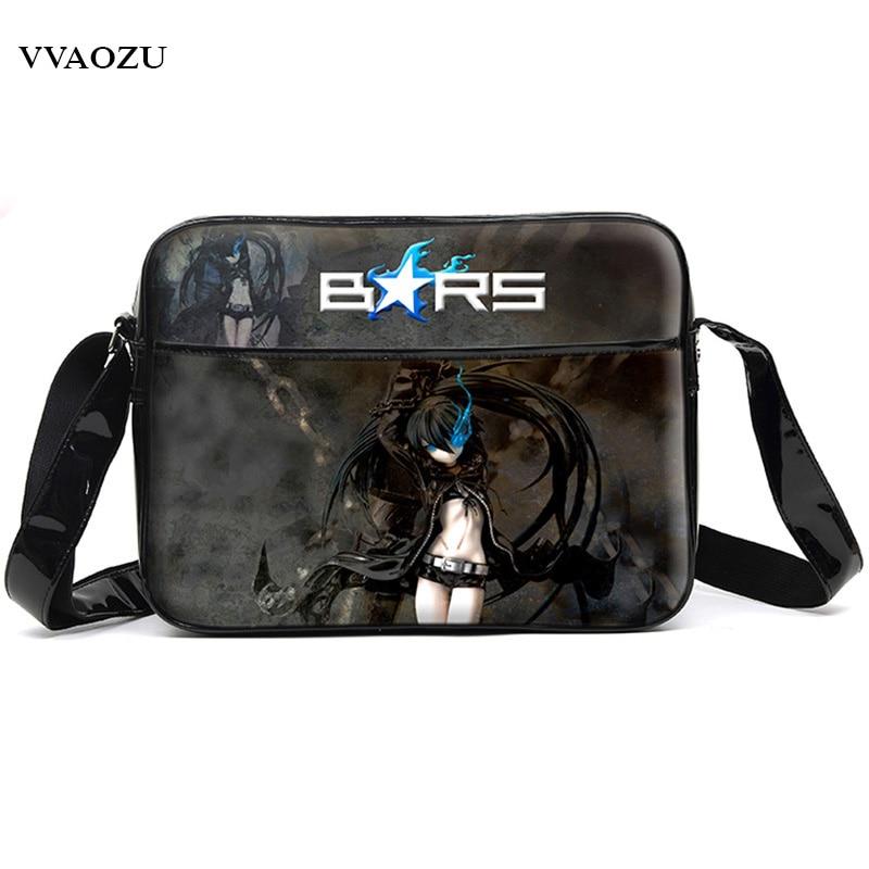 цена Black Rock Shooter Unisex Cartoon Anime Cosplay Messenger Bag Waterproof PU Men Women Schoolbag Shoulder Bags Free Shipping в интернет-магазинах