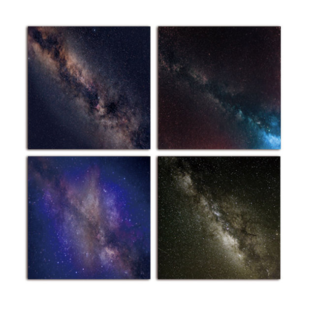 Banmu No Frame 4 Pcsensemble La Oblique Galaxy Nébuleuse Peinture L