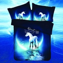 3d Galaxy Bedding Sets Twin/Full/Queen/King Size Bedclothes Bed Linen Horse Printing Mysterious Duvet Cover Set(China)
