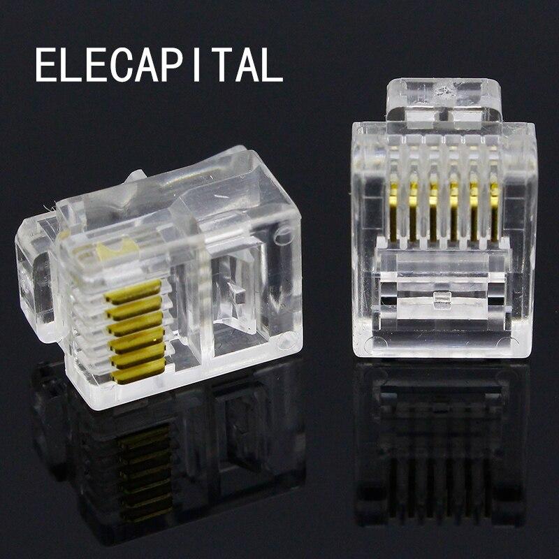 RJ11 6P6C Modular Jack Network Male Plugs, 6 Pin, Telephone Connector 24 pcs rj45 modular network pcb jack 56 8p w led 4 ports