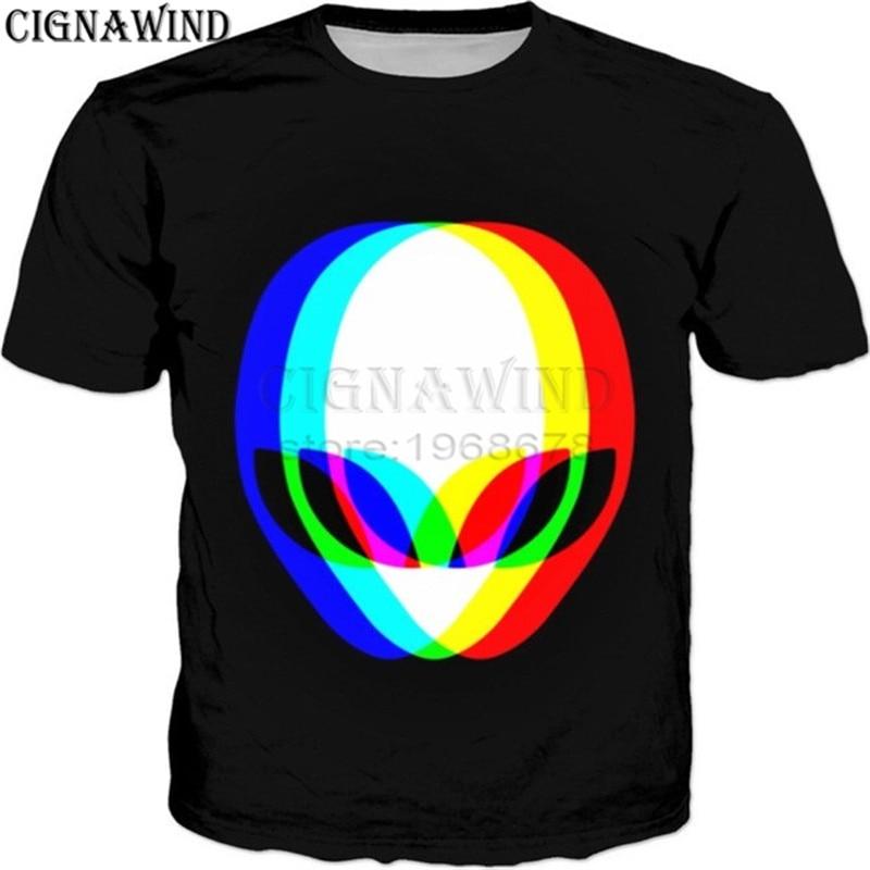 7fb3018b Fashion funny t shirts men/women Psychedelic hypnosis Alien Face 3D print t- shirts