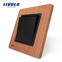 Livolo Manufacturer Luxury Cherry Wood Panel Push Button Switch Smart Home VL C7K1 21