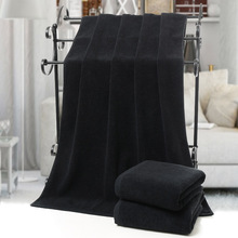hot deal buy 70*140cm 2018 new solid black 100% cotton face towels hand towel bath towels for adults beach towel hotel factory wholesale