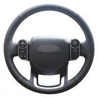 leather hand Top Leather Steering Wheel Hand-stitch on Wrap Cover For Land Rover Range Rover 2014-2015 (2)