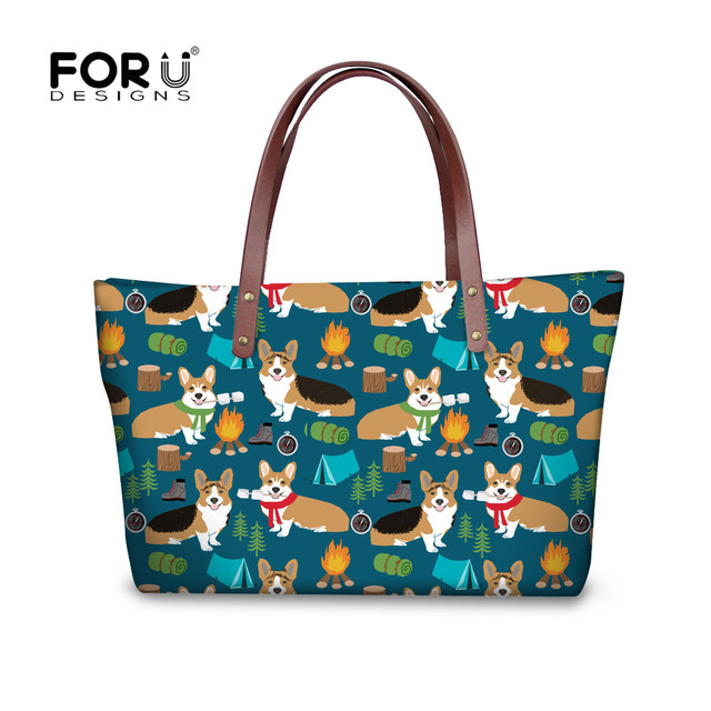 Forudesigns Corgis Printed Las Handbags Larger Women Bags Shoulder Bag With Leather Purse Top Handle