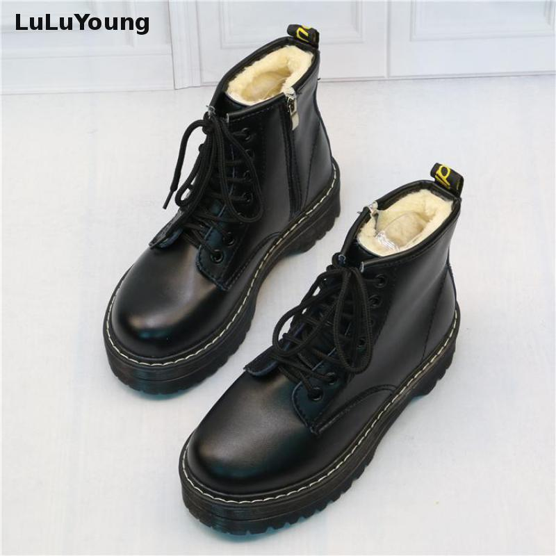 Women Martin Shoes Zippers, Casual Boots Winter Warm Lace Up Women Ankle Boots
