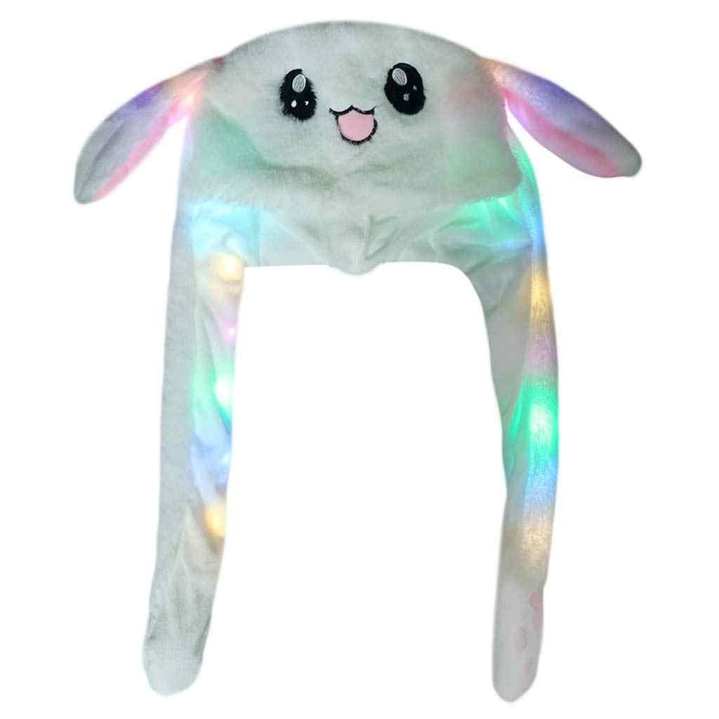 Забавные движущиеся уши кроличья шляпа прыгающая шапочка кролика Ins вечерние подвижная шляпа сияющая светодиодная Принцесса Корона Рождество Дети День рождения