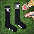 2016 Women Stockings PINK Letter Workout Socks Fitness Cheerleading Long Socks Lovely Stripe Knee High Socks Christmas Gift