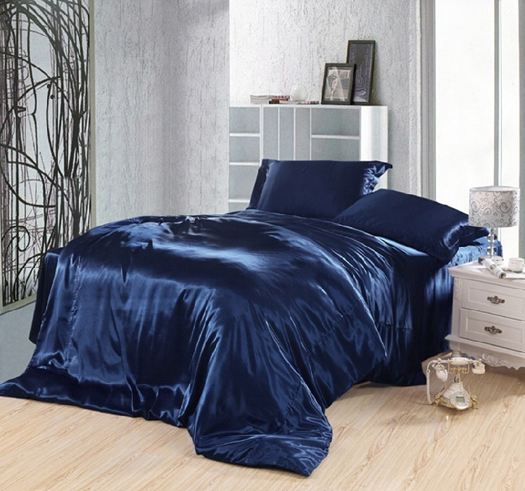 Dark Blue Bedding Set Silk Satin Super King Size Queen Fitted Sheet Bed In A  Bag