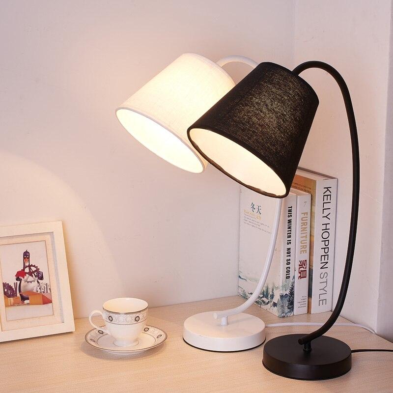 Modern LED Table Desk Lamp For The Bedroom Living Room Schoolchildren Black White Lamps Design Bedside Night Light Fixture