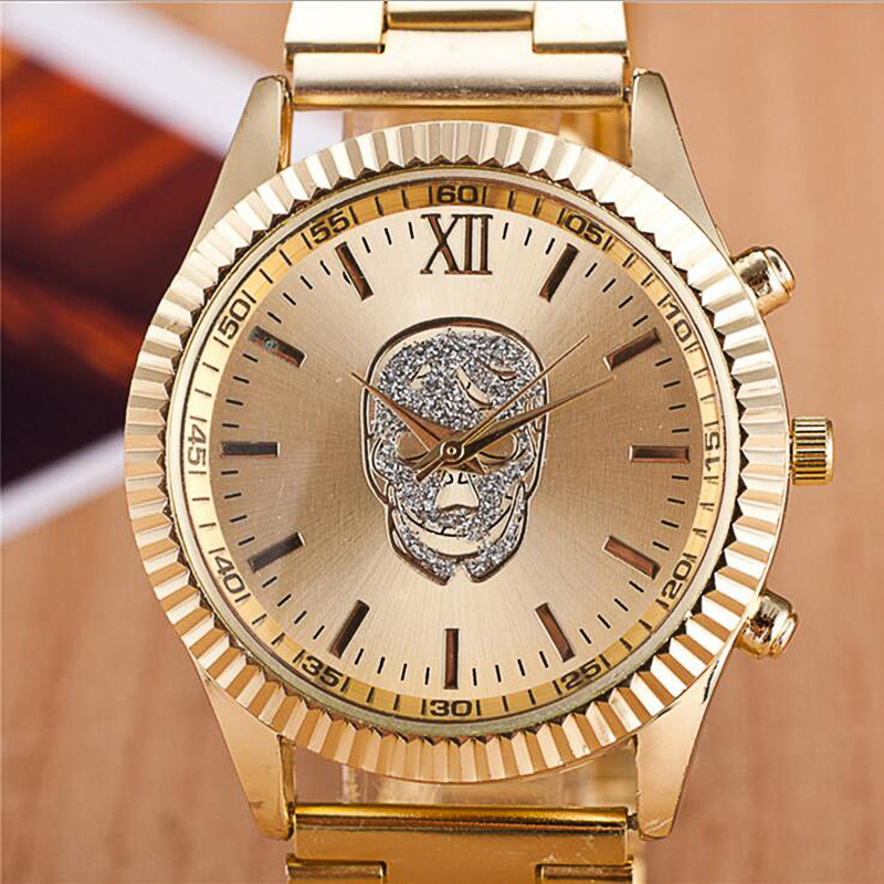 Relogio Masculinolady Mens Watches New Skull Watch Men's Women Sports Watch Men Diamond Stainless Steel Gold Quartz Clock