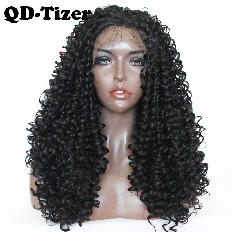 QD-Tizer Kinky Curly Synthetic Lace Front Wig Glueless Heat Resistant With Baby Hair Black Color Lace Front Wigs For Black Women