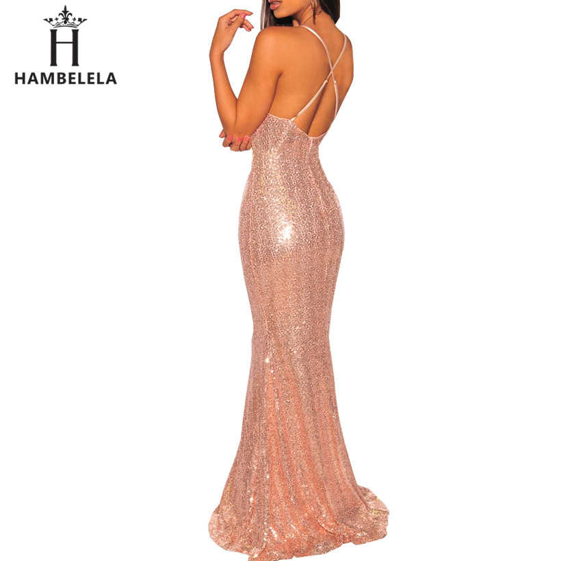 ... HAMBELELA Bodycon Dress Elegant Deep V Neck Backless Party Maxi Dress  2019 Summer Sexy Sequin Mermaid ... 062af36d0