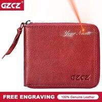 GZCZ 100 Genuine Leather Women Wallets Zipper Around With Coin Purse Small Walet Portomonee Rfid Mini