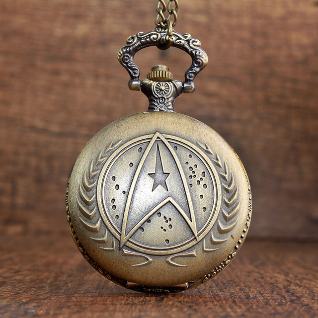 Antique 4 Style Gold Vintage Mystery Star Trek Quartz Pocket Watch With Chain Pe