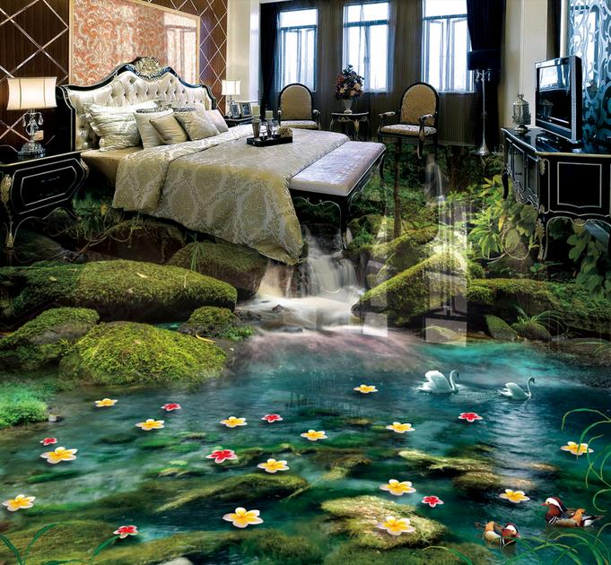 custom 3d floor wallpaper Forest Falls 3d room wallpaper landscape pvc vinyl flooring self adhesive wallpaper vinyl floor tiles high quality 3d flooring vinyl custom 3d floor bathroom landscape non slip wear thickend self adhesive wallpaper