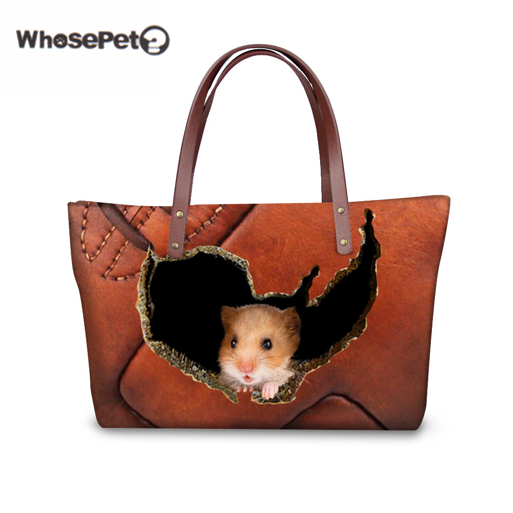 WHOSEPET Women Handbags 3D Hamster Printing Women Shoulder Bags Lady Tote Female Handbag Girls Large Casual Messenger Bags beeztees 801445 hamster