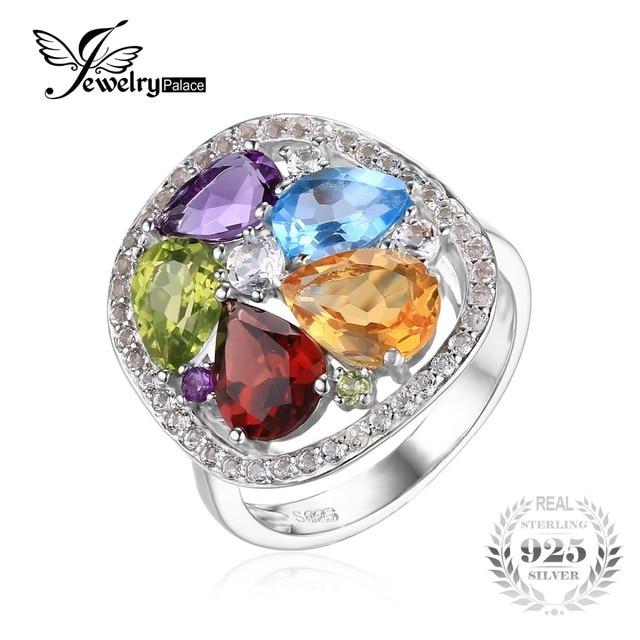 JewelryPalace luxury 4.5ct Genuine Amethyst Garnet Peridot Blue Topaz Ring 925 Sterling Silver bWU36gZ5