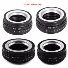 Foleto tilt m42 parafuso montagem de lente, anel adaptador M42 NEX M42 FX M42 M43 para eos m fujifim panasonic sony nex e câmera nex7 NEX 5