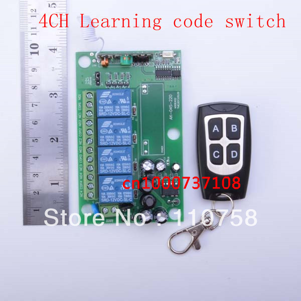 AC110V 220V 4CH RF Wireless Remote Control System / Radio Switch remote switch 220v Learning code receiver ac 220v 1channel 10a rf wireless remote control switch system 4 receiver