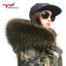 女性スカーフファッションコートセータースカーフら高級アライグマの毛皮ネックキャップ L07 & 本物の天然ラクーン毛皮の襟