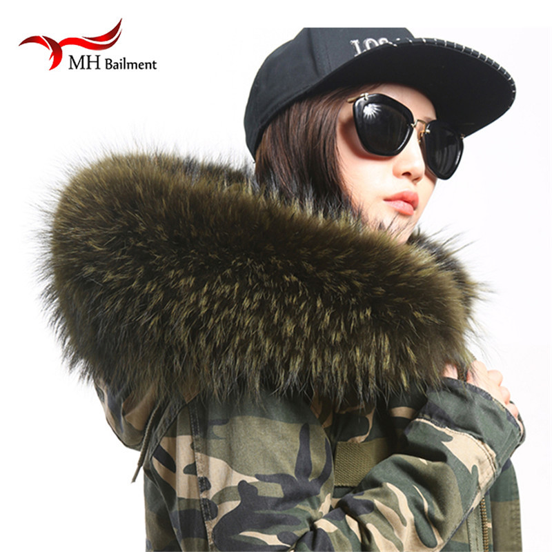 Asli Raccoon Asli Bulu Kolar & Scarfs Wanita Fesyen Coat Sweater Scarves Jack et Raccoon mewah Bulu Leher Cap L07