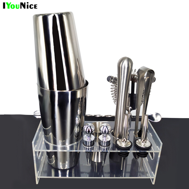 Iyounice 12 Pcs Set Tail Shaker Kit Bartender Shakers Stainless Steel Bar Tool Bartending With Wine Rack