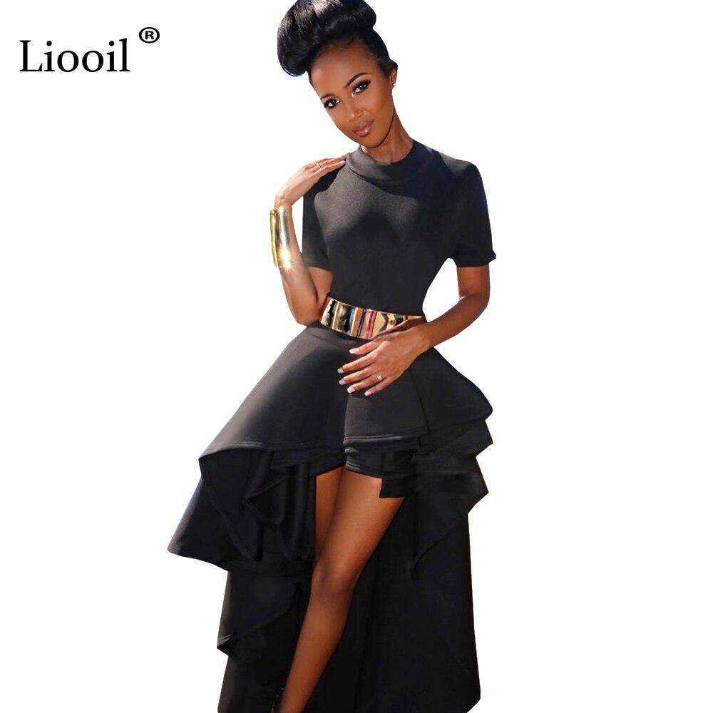 Liooil Elegant Women Party Dress Ruffles Short Sleeve O Neck Back Zipper Maxi Dresses Sexy Black White Red Long Runway Dress
