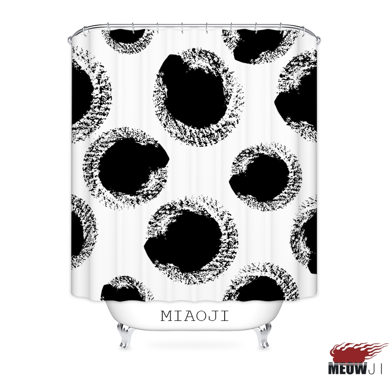 [MIAOJI] Black and White Brush Strokes Circle Dots Printed Polyester Fabric Bathroom Shower Curtain with Hooks Free Shipping