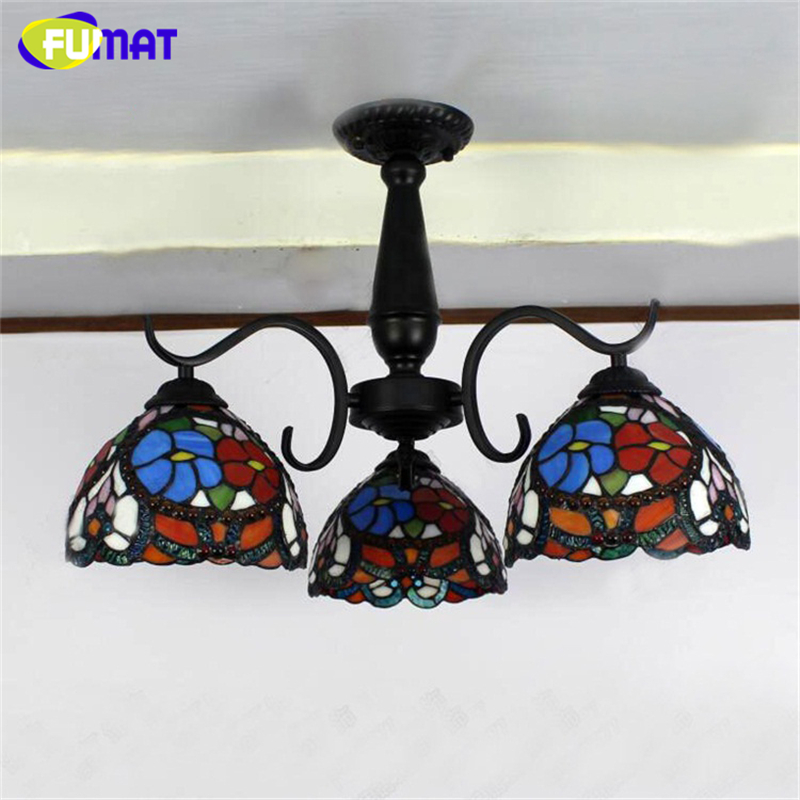 FUMAT Glass Art Ceiling Light European Vintage Mediterranean Stained Glass Ceiling Lamp Simple For Living Room Light Fixtures fumat parrots shape chandelier european vintage glass shade light dining room hanging lamp pendientes lustre light fixtures