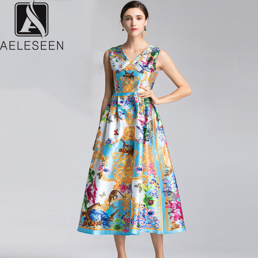 Aeleseen Fashion Designer Dress 2019 New High Quality Women S Sleeveless Beading Flower Print Elegant Mid Calf Christmas Dress Dresses Aliexpress
