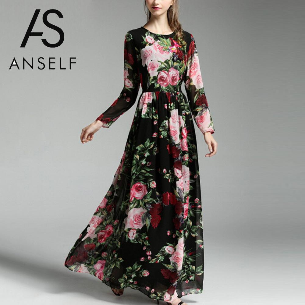 Vintage Flower Stampa Beach Summer Dress Donne Sexy Sheer Manica Lunga Maxi  Dress Plus Size Causale 790d7492487