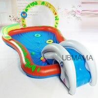 Large children inflatable plastic swimming pool outdoor garden antiskid bottom water spray ball pool