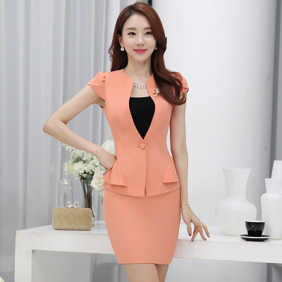 2016 Summer Casual Women Occupation Ladies Skirt Suits  Work Uniforms V-neck Single Button Overalls Slim Short Sleeved 2 Piece