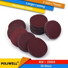20PCS 3 Zoll 75mm Aluminium Oxid Haken & Loop Red Getreide Trockenen Schleifen Discs für Holzbearbeitung Dremel Power werkzeuge Polieren Zubehör