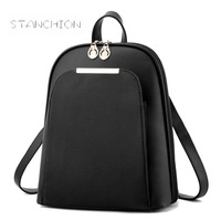 Women Backpack Faux Leather Daily Portable Multifunctional Solid Vintage Zipper Shoulder Shopping Travel For Teenage Bags