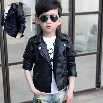 Children clothes boys leather jacket kids motorcycle clothing 2018 new spring autumn big child fashion coat casual tops 2-12yrs Outwear & Coats