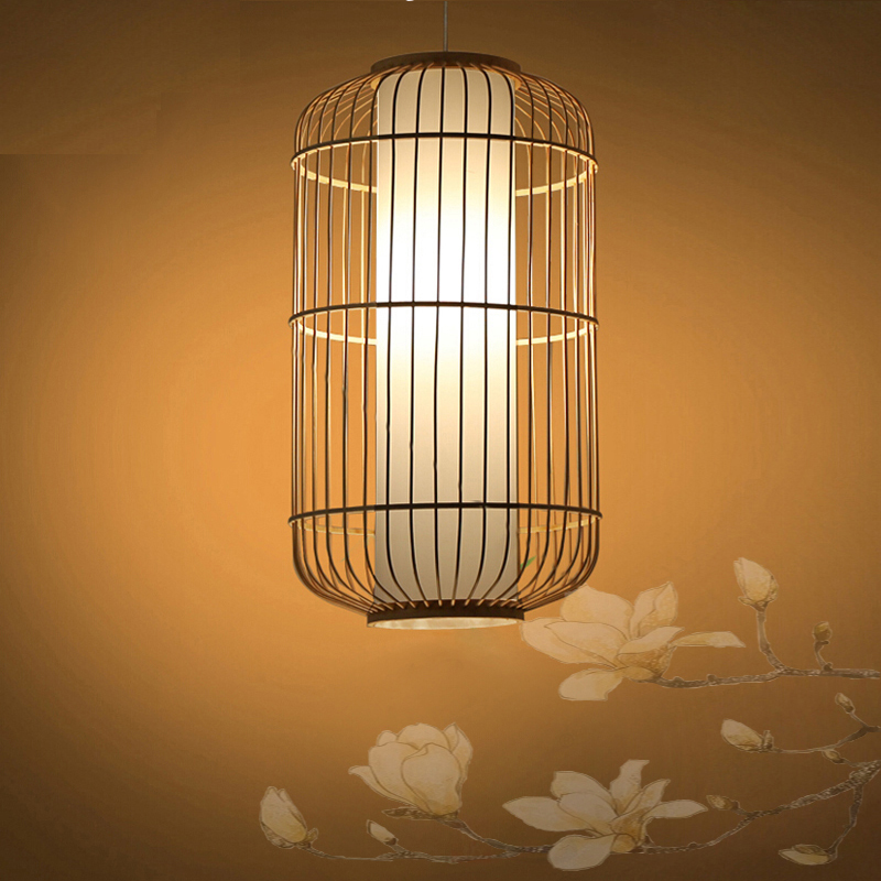 New Chinese style vintage pendant lights wood and bamboo for dining room hotel hall home loft led pendant lamp light AC110v 220v edison inustrial loft vintage amber glass basin pendant lights lamp for cafe bar hall bedroom club dining room droplight decor