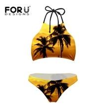 FORUDESIGNS Palm Tree Pair Bikini Sets for Women High Neck Low Waist Blue Black Stripes Brazilian Bikini Push Up Top Biquini