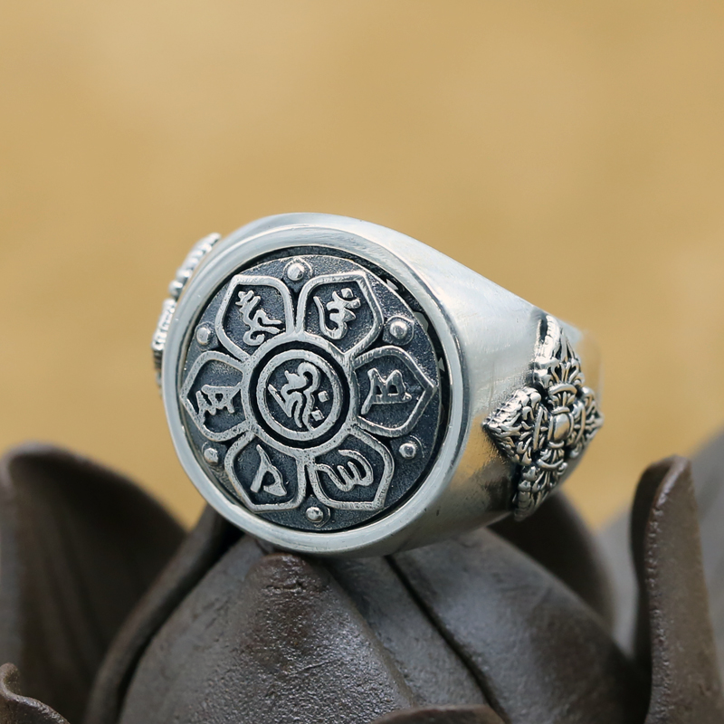 100% 925 Silver Tibetan OM Six Words Proverb Ring Sterling Buddhist Vajra Symbol Ring Pure Silver Tibetan Dorje Symbol Man Ring 100% 925 silver tibetan dorje bracelet fine leather buddhist vajra symbol bracelet pure silver tibetan six words bracelet