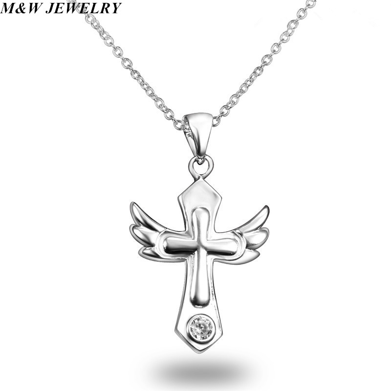 M&W JEWELRY Brightly Hot Sales Statement Choker Necklace Angel Wings Cross Pendants Necklaces for Women Gifts