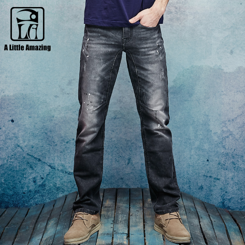 ФОТО 2016 Autum New Arrival Mens Knitted Denim Jeans Stretched Straight Bleached Blacked Denim Distressed Jeans Ripped Paint 158030-6