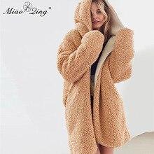 MIAOQING Warm Winter Women Hooded Coat Lambswool Oversized Jackets Terry Teddy Long Coat Two Wear Fur Parkas Overcoat Streetwear