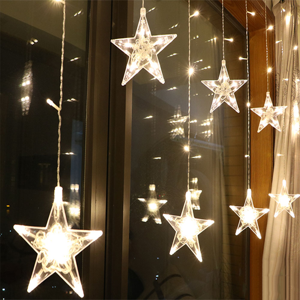 2.5M LED Christmas Star Curtain Lights 220V EU Outdoor/Indoor Garland String Fairy Lamp For Party Wedding Holiday Decoration