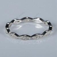 Full Eternity Milgrain Women Diamonds Ring Solid 10K White Gold Wedding Band Fine Jewelry